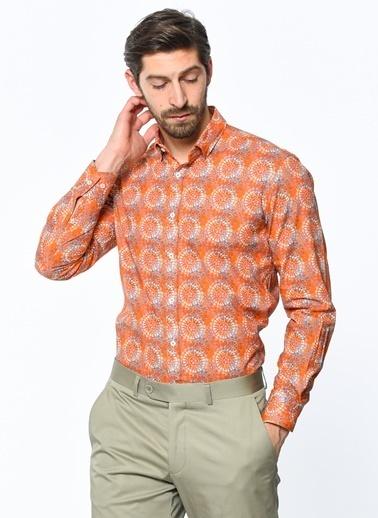 Daffari Desenli Uzun Kollu Gömlek Oranj